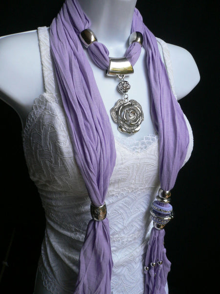 Gray / Red / L. Purple / L. Blue New Women Necklace Scarf Moroccan Fashion Soft Fabric Long Silver Flower Pendant Charm - alwaystyle4you - 28