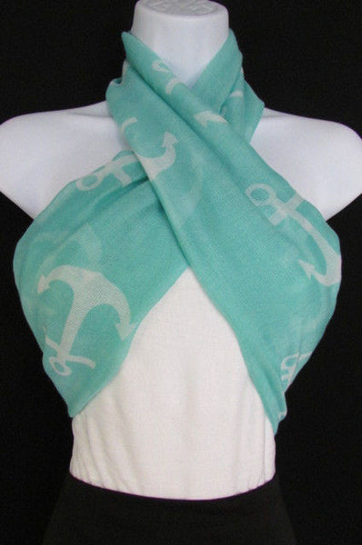 Green Aqua Pink Black White New Women Fashion Fabric Infinity Loop Scarf Big Anchor - alwaystyle4you - 32