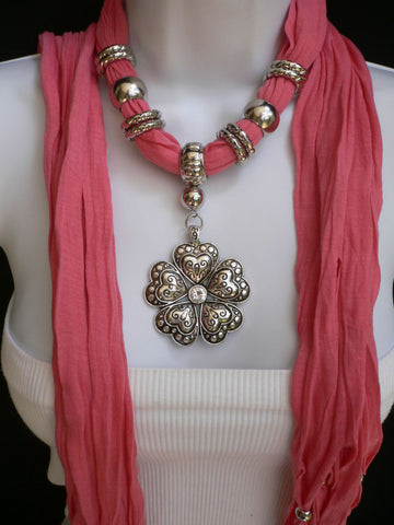 Blue Light Blue Black Dark Brown Light Pink Coral White Soft Scarf Necklace Heart Flower Silver Pendant New Women Fashion 6 Different Colors - alwaystyle4you - 40