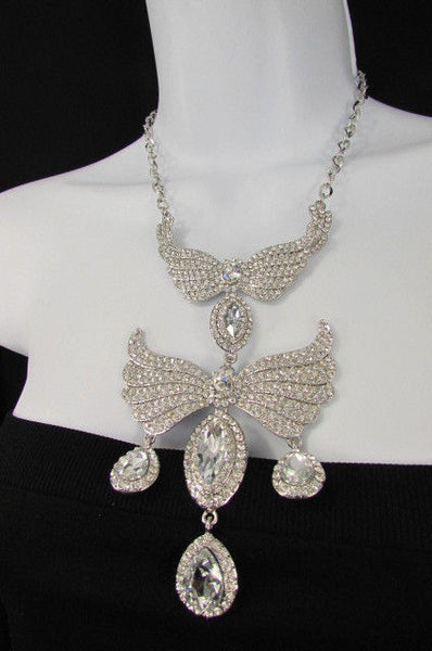 Metal Flying Wings Gold Silver Rhinestones Necklace + Earrings set New Women Fashion - alwaystyle4you - 33