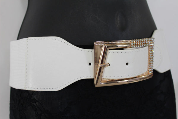 Black / Red / White / Brown Faux Leather Tie Hip Waist Belt Square Gold Rhinestones Buckle New Women Fashion Accessories M L - alwaystyle4you - 26