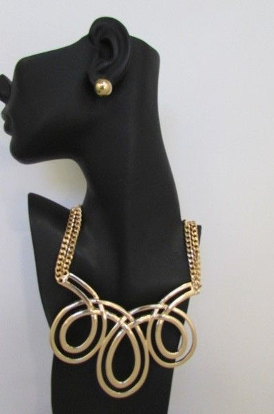 Gold / Silver Twisted 3 Drops Chain Necklace + Earring Set New Women Chunky Fashion - alwaystyle4you - 28