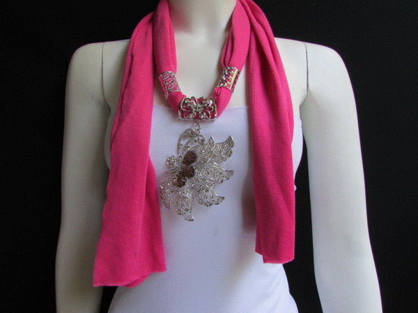 Pink Blue Black Brown Bright Coral Soft Fabric Scarf Long Necklace Big Silver Butterfly Pendant New Women Fashion - alwaystyle4you - 1