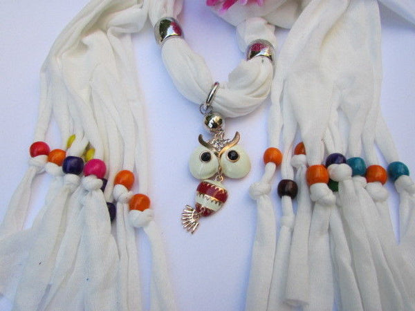 Black, Blue, Beige, Gray, White Soft Scarf Long Necklace Multicolors Wood Beads Owl Pendant New Women Fashion Accessory - alwaystyle4you - 29