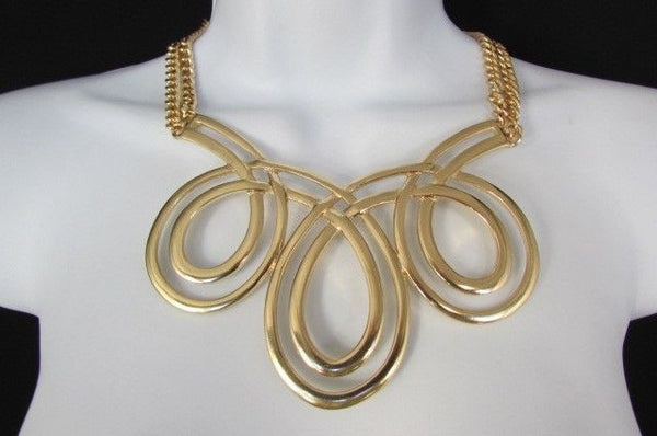 Gold / Silver Twisted 3 Drops Chain Necklace + Earring Set New Women Chunky Fashion - alwaystyle4you - 29
