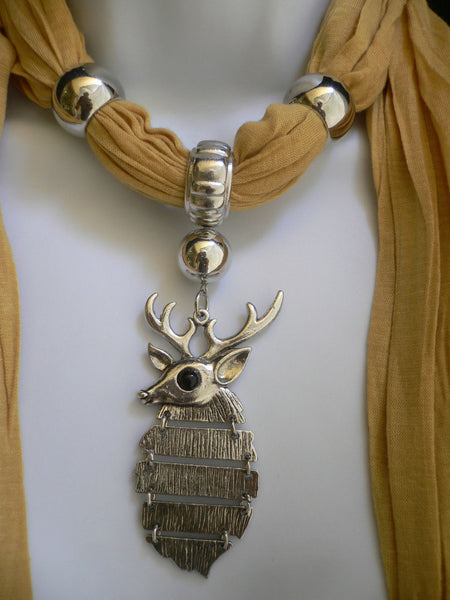Green  / Red / White / Blue / Beige / Pink / Mustard Long Soft Scarf Necklace Silver Metal Deer Head Pendant For Christmas New Women Fashion - alwaystyle4you - 62