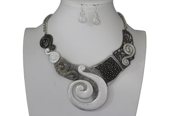 Gold Silver Copper Metal Chain Snail PendantNecklace New Women Fashion + Earrings Set - alwaystyle4you - 30