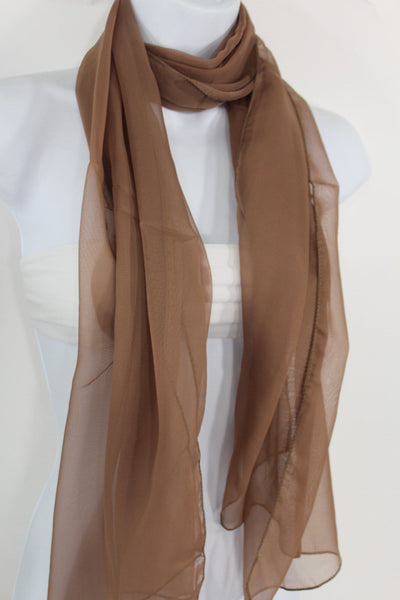 Dark Brown Dark Green Dark Blue Brown Neck Scarf Long Soft Sheer Fabric Tie Wrap Classic New Women Fashion - alwaystyle4you - 29