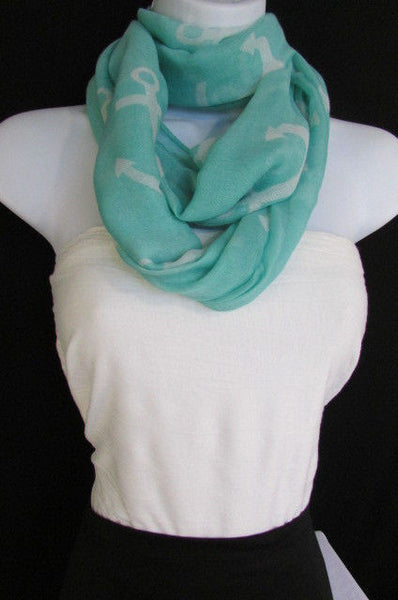 Green Aqua Pink Black White New Women Fashion Fabric Infinity Loop Scarf Big Anchor - alwaystyle4you - 33