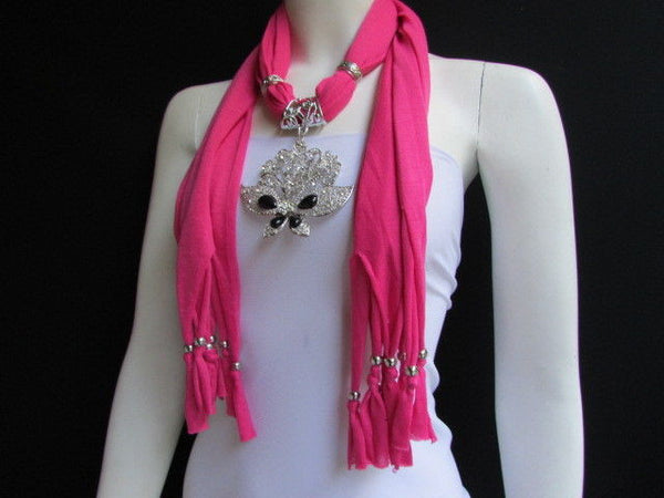 Black Blue Purple Pink Brown Dark Gray Red Bright Coral Green Soft Fabric Scarf Necklace Silver Flowers Butterfly Pendant New Fashion Accessory - alwaystyle4you - 29