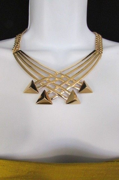 "Gold Silver New Women 14"" Strands Metal Chains Fashion Necklace Arrows + Earring Set - alwaystyle4you - 34"