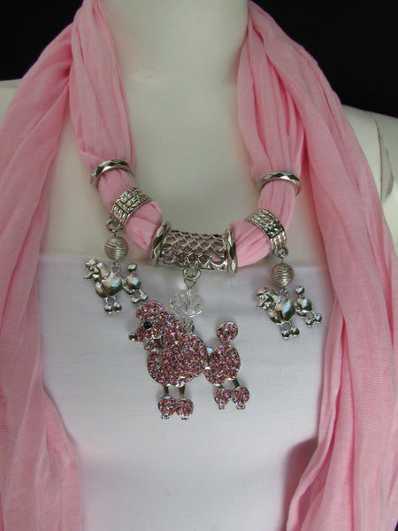 Blue, Black, L. Pink, Pink Fuscia Soft Fabric Scarf Silver Metal Poodle Dog Pendant New Women Fashion - alwaystyle4you - 35