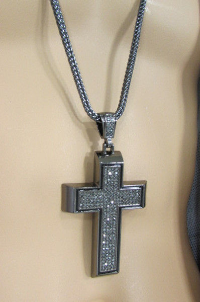 Pewter / Silver Metal Chains Long Necklace Boarded Cross Pendant New Men Hip Hop Fashion - alwaystyle4you - 34