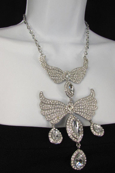Metal Flying Wings Gold Silver Rhinestones Necklace + Earrings set New Women Fashion - alwaystyle4you - 35
