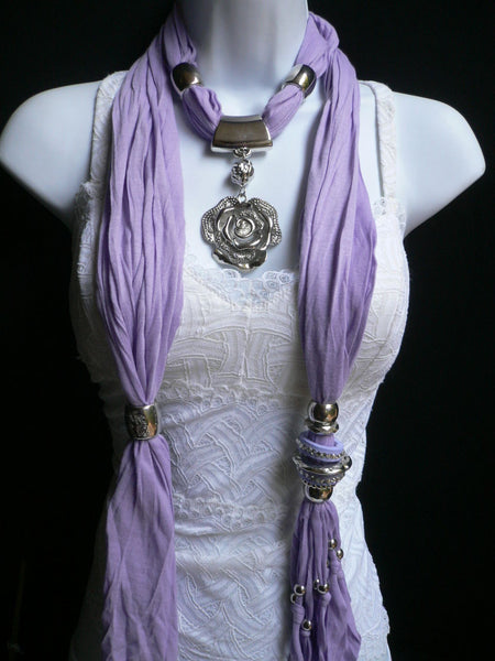 Gray / Red / L. Purple / L. Blue New Women Necklace Scarf Moroccan Fashion Soft Fabric Long Silver Flower Pendant Charm - alwaystyle4you - 30