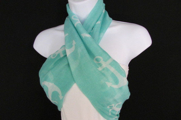 Green Aqua Pink Black White New Women Fashion Fabric Infinity Loop Scarf Big Anchor - alwaystyle4you - 34
