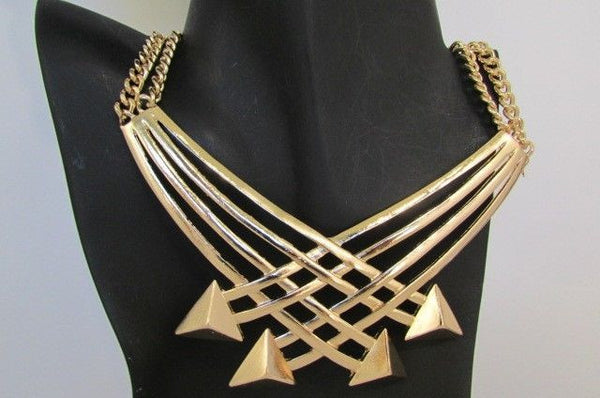 "Gold Silver New Women 14"" Strands Metal Chains Fashion Necklace Arrows + Earring Set - alwaystyle4you - 35"