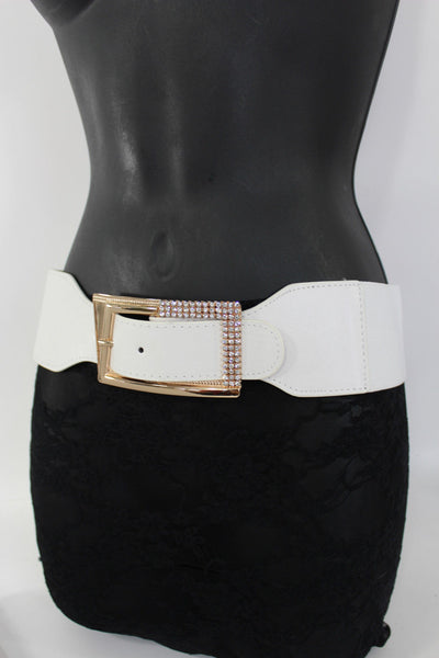 Black / Red / White / Brown Faux Leather Tie Hip Waist Belt Square Gold Rhinestones Buckle New Women Fashion Accessories M L - alwaystyle4you - 28