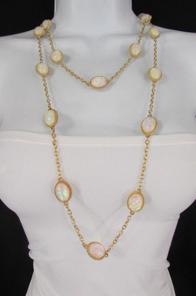 "Extra Long Gold Chains Shiny Cream Beads Fashion Necklace + Earrings Set New Women 26"" - alwaystyle4you - 7"