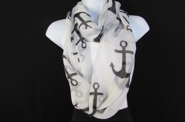 Green Aqua Pink Black White New Women Fashion Fabric Infinity Loop Scarf Big Anchor - alwaystyle4you - 7