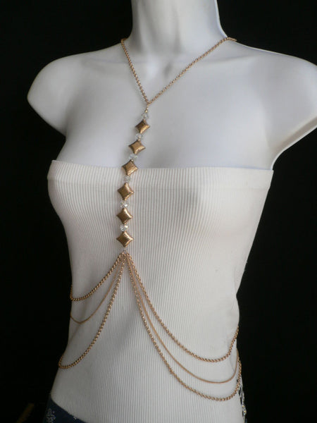 New Women Gold Square Clear Beads Long Metal Body Chain Moroccan Fashion Jewelry - alwaystyle4you - 3