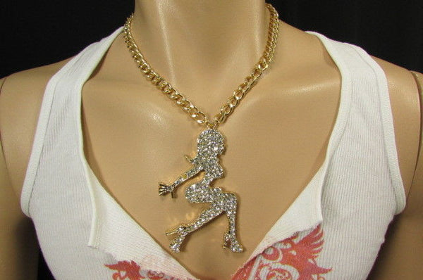 Gold Metal Chains Fashion Necklace Big Silver Rhinestone Sexy woman Shape Pendant New Men Fashion - alwaystyle4you - 4