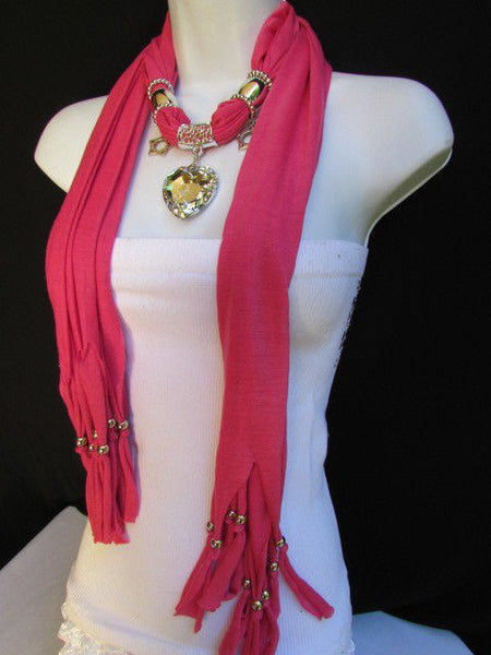 Pink Bowen Soft Fabric Scarf Necklace Silver Big Heart Crystal Stars Pendant New Women Fashion - alwaystyle4you - 15