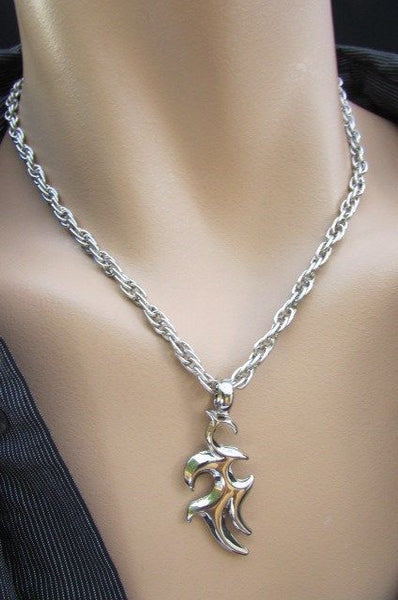 Silver Chain Necklace Chic Trendy Style Trible Pendant New Men Fashion Accessories #1
