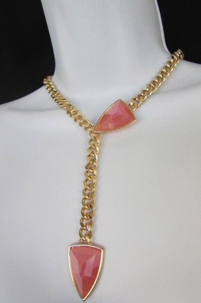 "Gold Metal Chains 16"" Long Big Pink Beads Necklace + Earrings Set New Women Fashion - alwaystyle4you - 11"