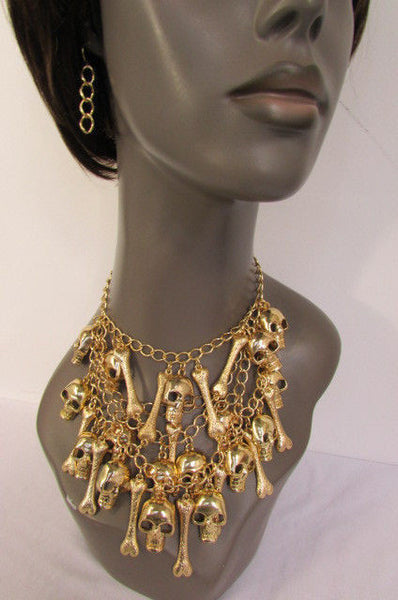 Gold Chains Skulls Strands Skeleton Bones Necklace + Earrings Set New Women Fashion - alwaystyle4you - 10
