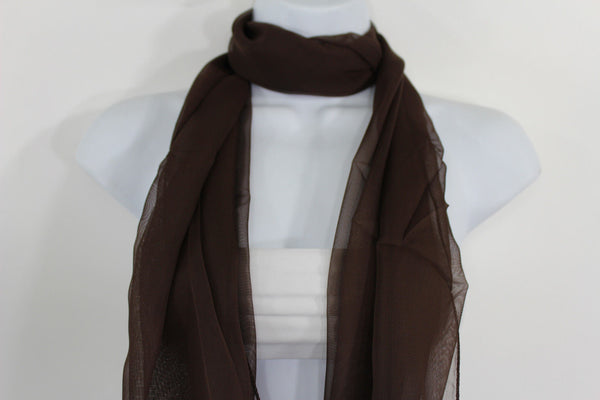 Dark Brown Dark Green Dark Blue Brown Neck Scarf Long Soft Sheer Fabric Tie Wrap Classic New Women Fashion - alwaystyle4you - 5
