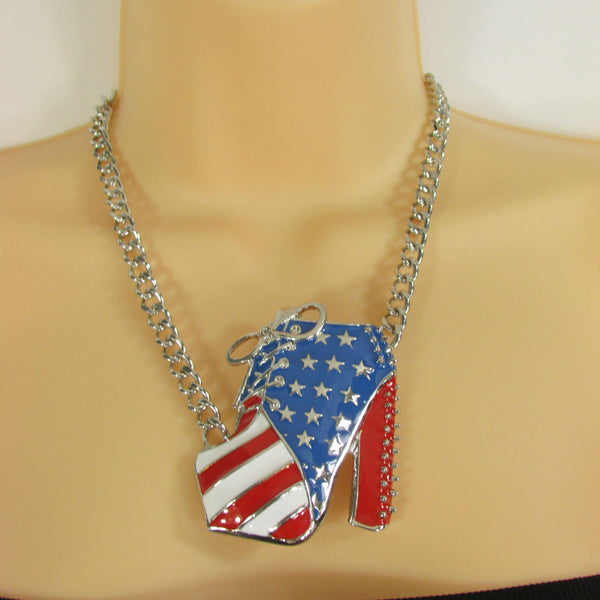 Large Metal High Heels Shoes Pendant Fashion Chains Gold / Silver Rhinestones American Flag USA Stars Necklace + Earrings Set - alwaystyle4you - 8