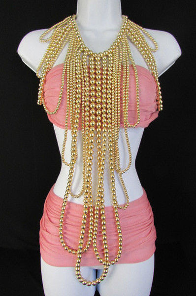 "Gold Multi Ball Beads 30"" Extra Long Unique Statement Necklace + Earrings Set  New Women Fashion - alwaystyle4you - 8"