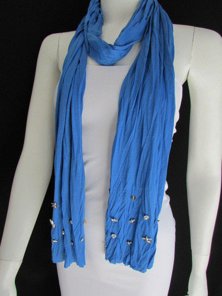 New Women Soft Fabric Fashion White / Blue /  Gray / Black Scarf Long Necklace Silver Metal Stars Studs - alwaystyle4you - 15