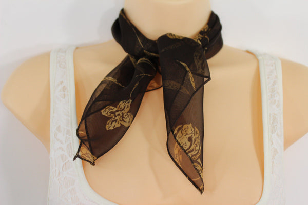 Dark Green Brown Navy Blue Small Neck Soft Scarf Fabric Flower Pocket Square Women Accessories