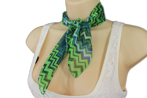 Bright Green Neck Scarf Fabric Black Chevron Print Pocket Square New Women Accessories Fashion - alwaystyle4you - 9