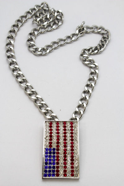 Silver Metal Chain Links Long Necklace USA American Flag Pendant 3D New Men Fashion Accessories - alwaystyle4you - 6