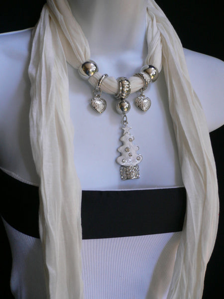 New Women Fashion Snow Christmas Tree Stars Pendant White Long Scarf Necklace - alwaystyle4you - 1
