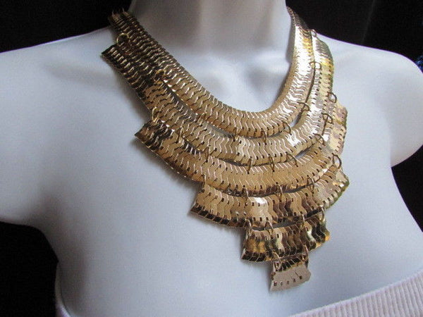 Wide 6 Strands Gold Links Chains Metal Statement Necklace + Matching Earrings Set New Women - alwaystyle4you - 3