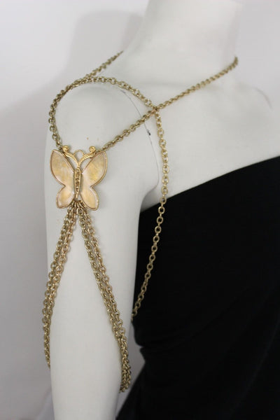 New Women Shoulder Chain Gold Metal Big Butterfly Necklace Body Jewelry Harness - alwaystyle4you - 5