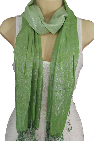 Green Neck Scarf Long Soft Fabric Tie Wrap Classic Bright Shiny New Women Jewelry Accessories - alwaystyle4you - 3
