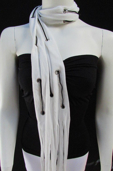 New Women Fashion Soft White Fabric Scarf Mini Faux Fur Balls Black Chains - alwaystyle4you - 9