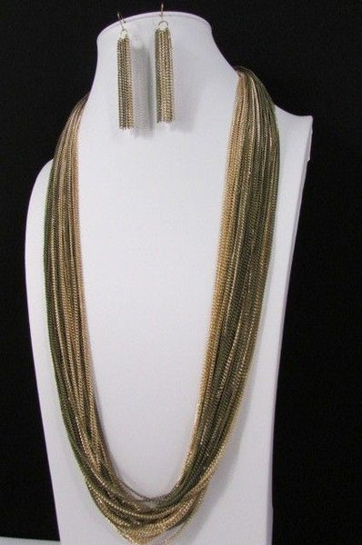 Silver Black / Antique Gold Thin Multi Chains Long Necklace + Earrings Set New Women Fashion - alwaystyle4you - 21