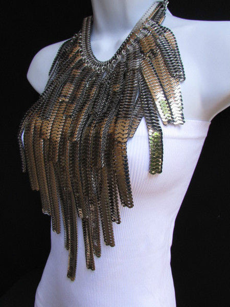 "Dressy Casual Wide Multi Strand Gold / Silver Links Chains Wide Metal New Women Necklace 20"" - alwaystyle4you - 17"