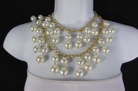 Gold Metal Long Double Chains 2 Strands Big Pearl Beads New Women - alwaystyle4you - 1