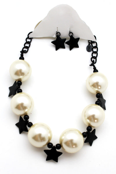 Black / Silver / Gold / Red / White Metal Stars Ball Beads Short Ivory Necklace + Earring Set New Women Fashion Jewelry - alwaystyle4you - 7