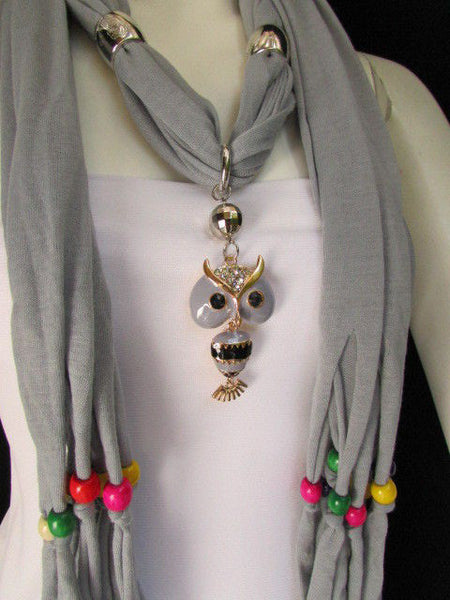 Black, Blue, Beige, Gray, White Soft Scarf Long Necklace Multicolors Wood Beads Owl Pendant New Women Fashion Accessory - alwaystyle4you - 3