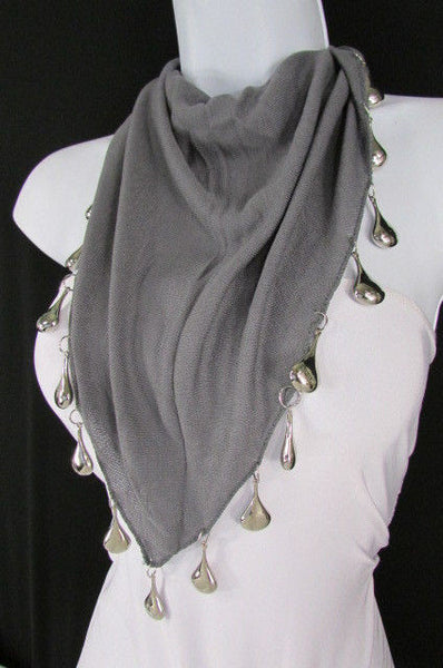 Solid New Women Scarf Fashion Necklace Gray Short Fabric Neck Multi Silver Drops Beads - alwaystyle4you - 3