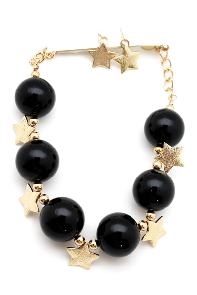 Black / Silver / Gold / Red / White Metal Stars Ball Beads Short Ivory Necklace + Earring Set New Women Fashion Jewelry - alwaystyle4you - 19