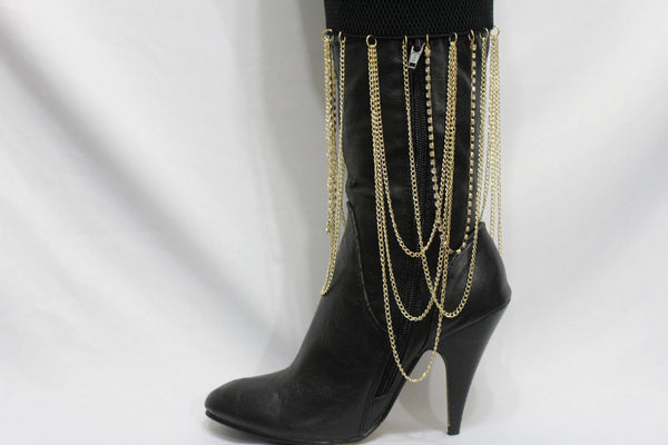 Gold Metal Boot Bracelet Chain Long Drop Bling Anklet Elastic Band New Women Western Hot Accessories - alwaystyle4you - 3